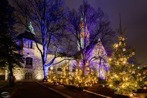 Picture of the Finnish National Museum in the background with enlightend trees in the front