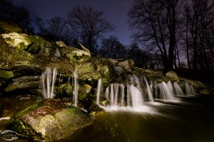 Picture of a small waterfall at night