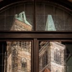 Reflection of the towers of St. Sebald