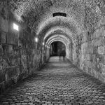 Hallway in black and white