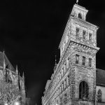 Old town hall at night in black and white