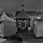 Christkindlesmarkt at night in black and white