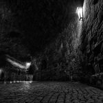 Tunnel at night in black and white