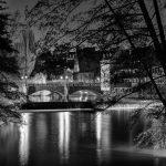 Maxbrücke at night in black and white