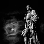 Statue at night in black and white
