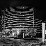 Panorama of a large office building in black and white