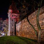 Old town wall at night