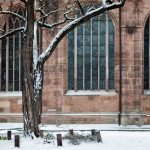Tree in front of a church with snow