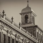 Old town hall in black and white