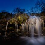 Small waterfall at night