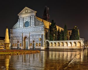 Picture of a basilica at night during rain