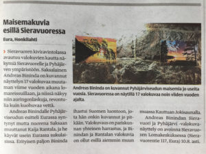 Newspaper article in Alasatakunta about the exhibition in Sieravuori
