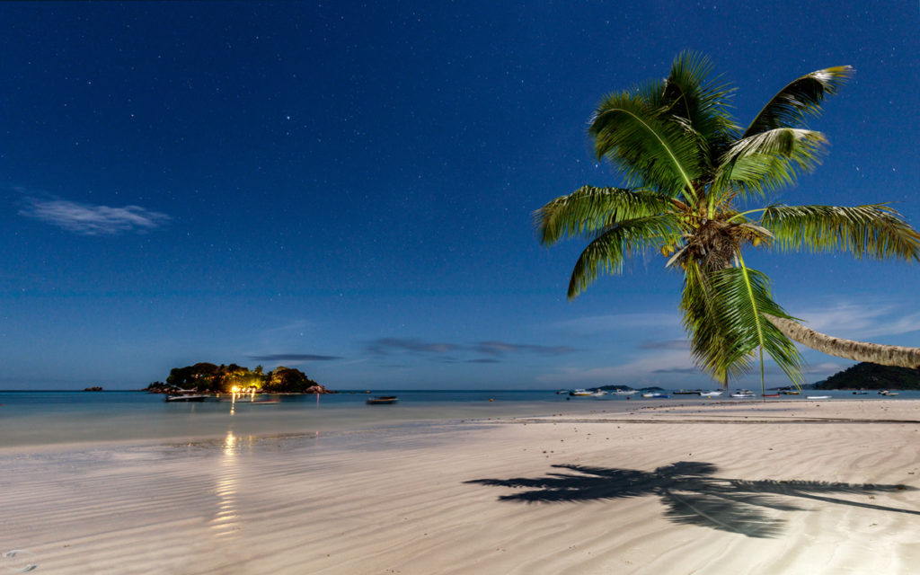A beach at night